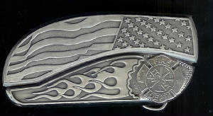 www.Bucklehead.com Flag Flame With Sterling Silver Fire Fighter Symbol Belt Buckle Knife
