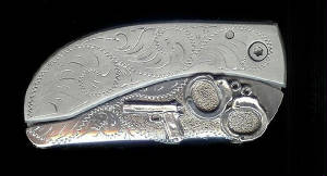 Engraved Scroll With Sterling Silver 45 & Handcuffs Belt Buckle Knife!