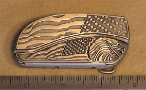 Length Of The Worlds Fastest Belt Buckle Knife! Click To View Large Image!
