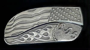 Flag Flame With Sterling Silver RAS Intitials Belt Buckle Knife