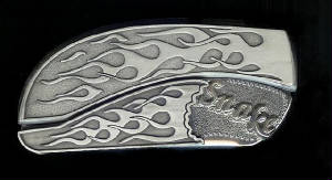Flame Flame With Sterling Silver Initials Snake Belt Buckle Knife