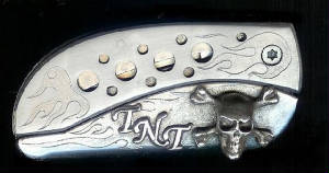 Engraved Flame With Holes Sterling Silver Skull & Crossbones With Initials Belt Buckle Knife!