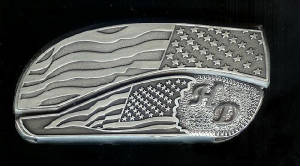 www.Bucklehead.com Flag Flag With Sterling Silver HD Belt Buckle Knife