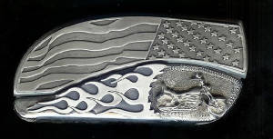 www.Bucklehead.com Flag Flame With Sterling Silver Motorcycle Belt Buckle Knife