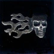 Sterling Silver Skull & Flames!