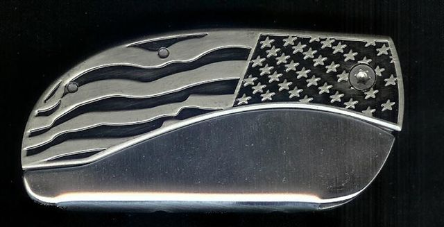 BLM Flag Plain Belt Buckle Knife